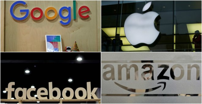 Los logos de Google, Apple, Facebook, y Amazon. REUTERS