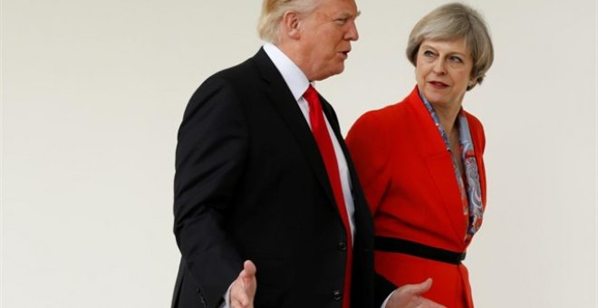 El presidente estadounidense, Donald Trump, tras su reunión con la primera ministra británica, Theresa May. / Europa Press