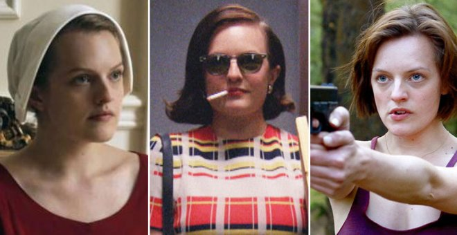 Elisabeth Moss en las series(de izquierda a derecha) 'The Handmaid's Tale', 'Mad Men' y ' The Top Of The Lake'