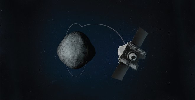 Ilustración  de la entrada en órbita de la sonda Osiris-Rex alrededor del asteroide Bennu. /HEATHER ROPER/UNIVERSITY OF ARIZONA