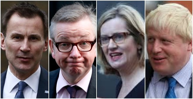 Jeremy Hunt, Michael Gove, Amber Rudd y Boris Johnson, algunos de los candidatos para suceder a Theresa May. / REUTERS