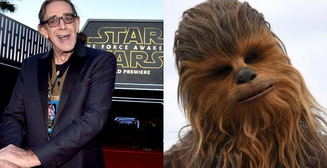 El actor Peter Mayhew y Chewbacca.