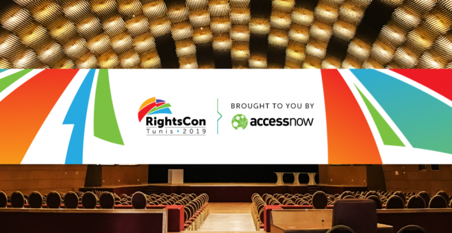 Cartel del RightsCon Túnez 2019.