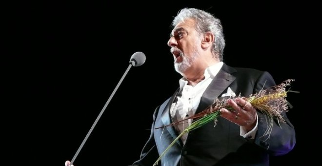 Plácido Domingo durante el concierto en Chichén Itzá.  WILLIAM