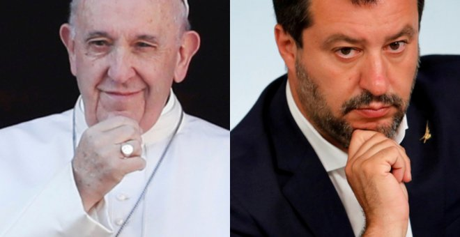 El papa Francisco y Matteo Salvini. REUTERS
