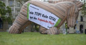 Protesters set up an inflatable 'Trojan Horse' as they demonstrate against TTIP and CETA trade agreements ahead of U.S. President Barack Obama's visit in Hannover