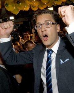 Jimmie Åkesson, líder de los ultraderechistas suecos, celebra sus resultados en las elecciones.-AFP