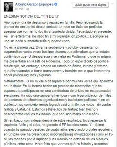 """Comentario de Alberto Garzón en Facebook, en la que responde a una noticia de 'El País', sobre su supuestos planes para """"poner fin a IU""""."""