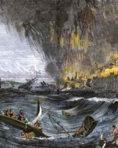 Recreación artística del tsunami de Lisboa de 1755. | Getty Images