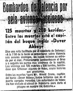 Un recorte de periódico que informaba del bombardeo de Valencia por seis aviones fasciosos.