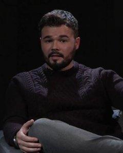 Gabriel Rufián, durante su entrevista con Pablo Iglesias en 'Otra Vuelta de Tuerka'.