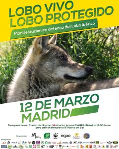 Cartel de la manifestación por la protección del lobo ibérico