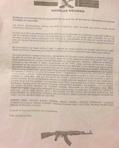 Un panfleto de amenazas de muerte a activistas colombianos de la región del Cauca.