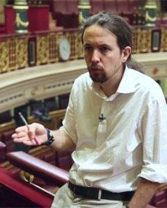 Pablo Iglesias, en otro momento de su entrevista con 'Público' en el Congreso de los Diputados. PÚBLICOTV