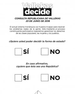 Papeleta de la consulta republicana. VALLEKAS DECIDE