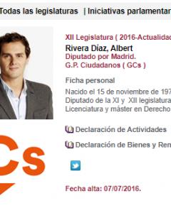 Ficha de diputado en el Congreso de Albert Rivera