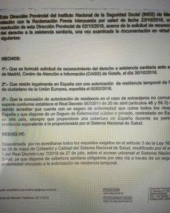 Carta del INSS en la que deniegan la tarjeta a una de las afectadas.