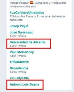 Antonio Luis Baena, Trending Topic de este martes.-