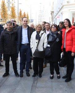 Manuela Carmena, acompañada de varios concejales de su equipo de gobierno, en el primer día de funcionamiento de Madrid Central. / Ayuntamiento de Madrid.