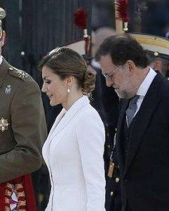 Felipe VI, junto a Letizia Ortiz y Mariano Rajoy,  durante la Pascua Militar. (EFE)