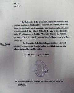 Carta Videla al rey Juan Carlos