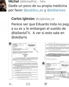 Tuit sobre el embargo de sueldo a Inda