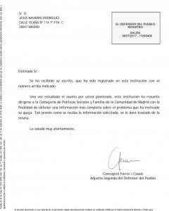 Resolución del Defensor del Pueblo ante la reclamación de Jesús Navarro / Jesús Navarro