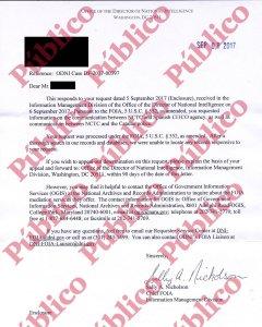 Respuesta íntegra de la División de Gestión de Información de FOIA.