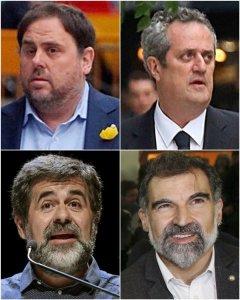 El exvicepresident de la Generalitat Oriol Junqueras, al exconseller de Interior Joaquin Forn y a los líderes d Òmnium Cultural,Jordi Cuixart y de ANC, Jordi Sánchez. EFE