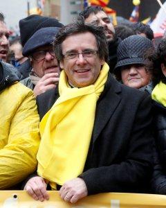 Carles Puigdemont, en la manifestación a favor de la independencia de Catalunya celebrada en Bruselas. REUTERS/Yves Herman