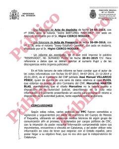 Última página de las dedicadas a las 'notas informativas' de Villarejo.