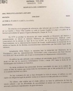 Respuesta del Gobierno sobre el Palacio La Cumbre.