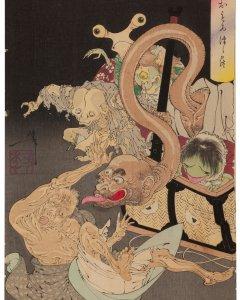 Un cesto pesado, por Tukioka Yoshitoshi (1839-1892).- MIYOSHI CITY