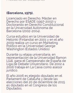 Ficha de Albert Rivera en la web de Ciudadanos