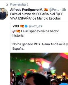 Tuit de Perdiguero tras el éxito electoral de Vox.