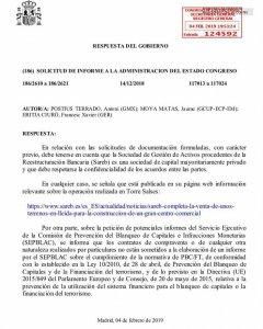 Respuesta del Gobierno sobre la operación de la Sareb en Lleida.