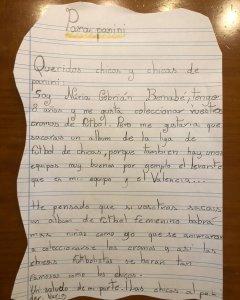 La carta de Nuria Cebrián a Panini.