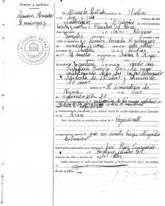 Acta de defunción de Ramón Herrada, tío de Flor Calzada