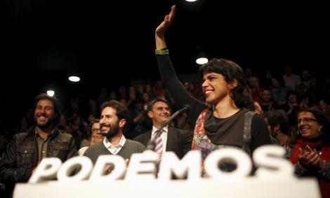 La líder andaluza y candidata de Podemos, Teresa Rodriguez, celebra los resultados de su formación en las elecciones del 22-M. REUTERS/Jon Nazca