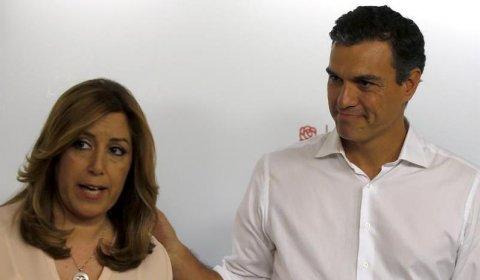 Susana Díaz y Pedro Sánchez, en Ferraz, tras conocer los resultados de las primarias. EFE/Javier Lizón