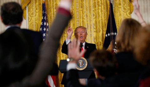 Trump, durante una rueda de prensa en la Casa Blanca. EFE