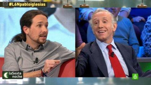 El secretario general de Podemos, Pablo Iglesias, y el periodista Eduardo Inda, en uno de sus cara a cara en el programa 'La Sexta Noche'