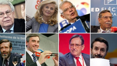 Felipe González, Isabel Tocino, Josep Borrell, José Folgado, Guillermo de la Dehesa, Ángel Acebes, Matías Rodríguez Inciarte y Josu Jon Imaz.-