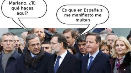 Rajoy se manifiesta en París (Tremending)