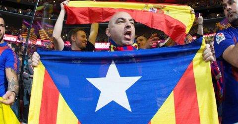 La afición del Barcelona en el estadio Wanda Metropolitano. - EFE