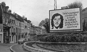 El asesinato de Puig Antich reocrrió media Europa .Esta es una valla publicitaria en Bruselas. ./ CRAI-BIBLIOTECA PAVELLÓ REPÚBLICA (UB)
