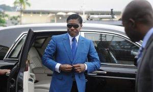 Teodorin Nguema Obiang, hijo del Presidente de Guinea Ecuatorial y vicepresidente a cargo de Seguridad y Defensa del país, llega al estadio de Malabo para las celebraciones de su 41 cumpleaños JEROME LEROY / AFP
