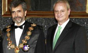 El magistrado Fernando Román, en su etapa de secretario de Estado de Justicia, con el presidente del CGPJ, Carlos Lesmes. EFE