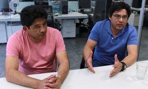 Martín Hernández y Víctor Fernández, abogados e impulsores de la Causa Berta Cáceres. ERLY QUIZHPE