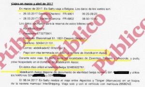 Fragmento del informe reservado del CNI sobre los viajes que hizo el imán de Ripoll a Bélgica y Tánger en marzo y abril de 2017.